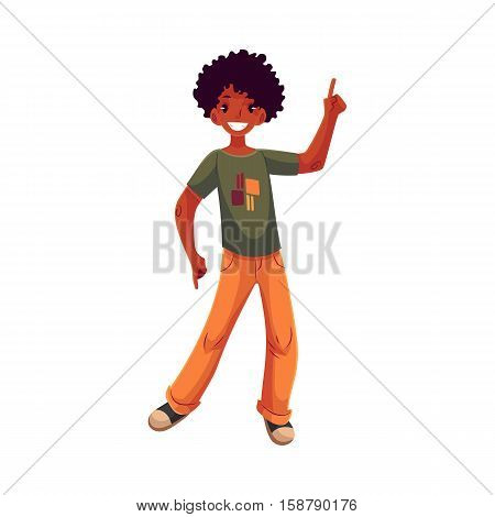 Full length portrait of african amercian teenaged boy in orange jeans dancing, cartoon style vector illustration isolated on white background. Smiling black boy with a wide smile dancing