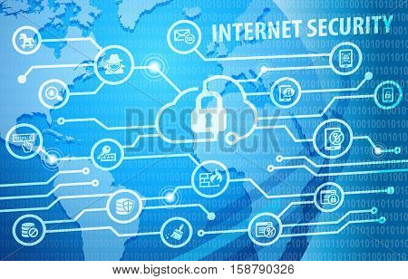 Internet Cyber Security Concept Background with various useful icons