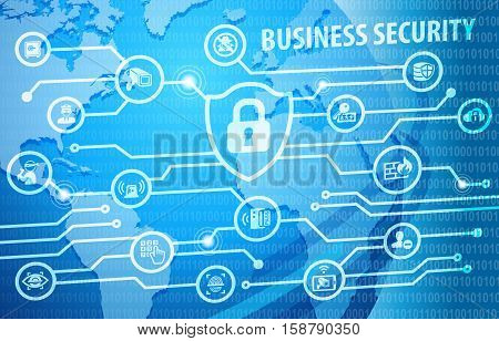 Business Security Protection Concept Background with various icons