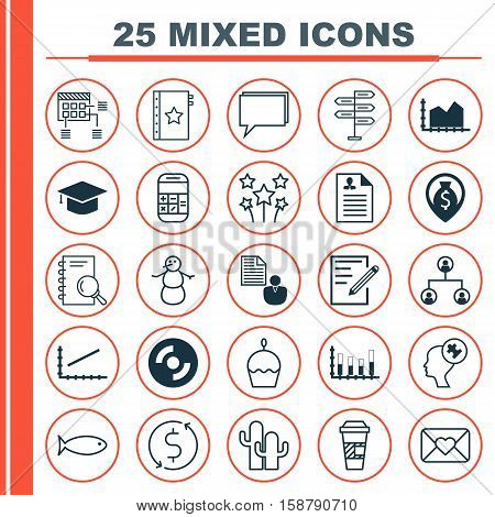 Set Of 25 Universal Editable Icons. Can Be Used For Web, Mobile And App Design. Includes Icons Such As Money Navigation, Curriculum Vitae, Segmented Bar Graph And More.
