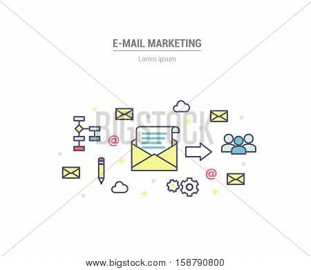 E-mail marketing concept vector illustration with envelopes, recipients signs.