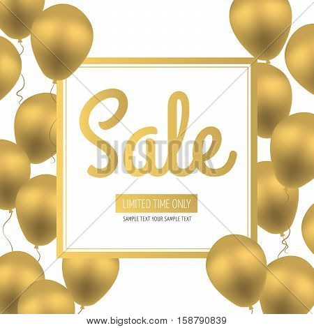 Sale Flyer. Golden Luxury Balloons on White Background with White and Gold Square Frame. Seasonal sales. Space for your text. Vector sales poster flyer template tag label badge design.