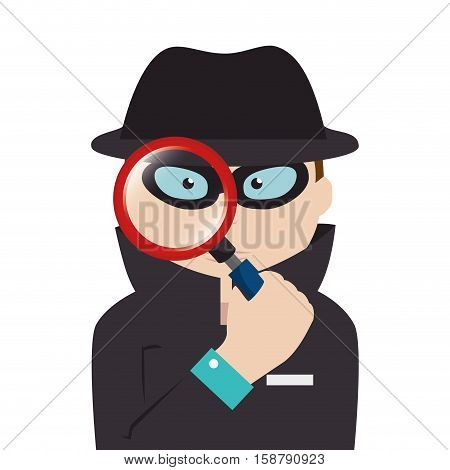 detective agent with magnifying glass vector illustration design