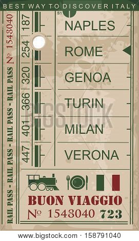 Train ticket vintage vector image on old paper background with popular destinations and cities in Italy.