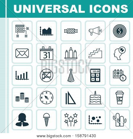 Set Of 25 Universal Editable Icons. Can Be Used For Web, Mobile And App Design. Includes Icons Such As Dynamics, Business Goal, Growth And More.