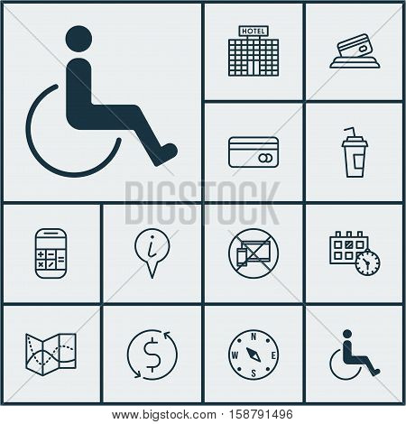 Set Of Transportation Icons On Money Trasnfer, Drink Cup And Accessibility Topics. Editable Vector Illustration. Includes Paralyzed, No, Compass And More Vector Icons.