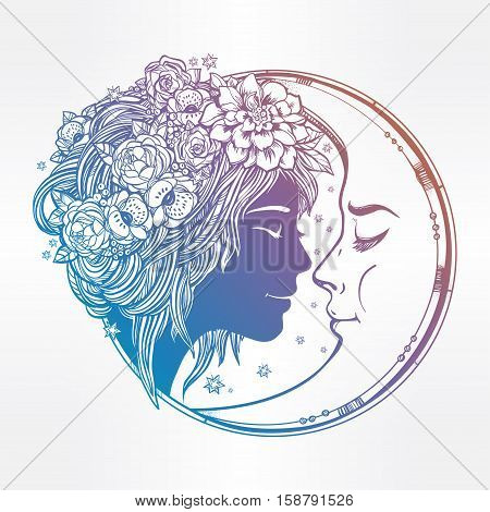 Magic night fairy with a moon. Portrait of a beautiful girl head with decorative hair and flowers on her head and a cresent next to her. Boho, spirituality, tattoo art. Isolated vector illustration.