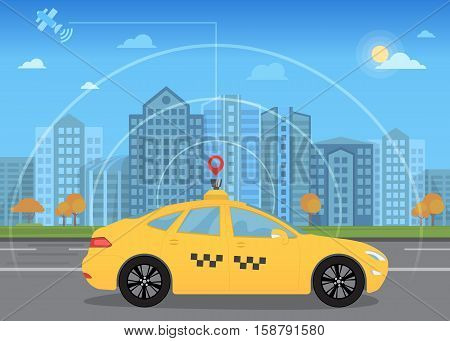 Self-driving intelligent driverless taxi car goes through the city using modern navigation gps technology adapted for navigation sensor and satellite