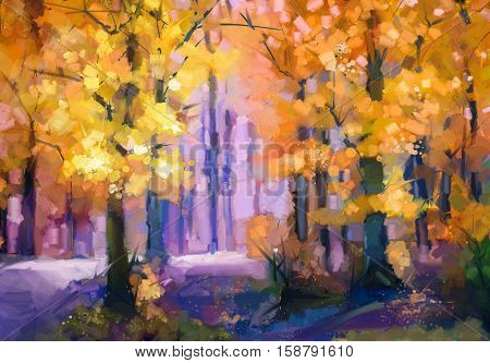 Oil painting landscape - colorful autumn trees. Semi abstract image of forest trees with yellow - red leaf. Autumn Fall season nature background. Hand Painted autumn landscape Impressionist style