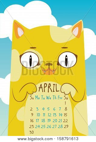 Spotted yellow cat on blue sky background with clouds. April calendar