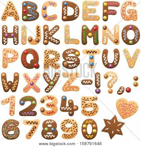Gingerbread and christmas cookies alphabet - sweet letters abc.