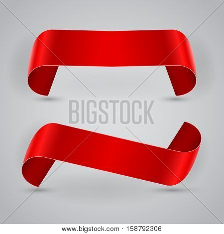 Blank red rolled Christmas banners vector illustration.