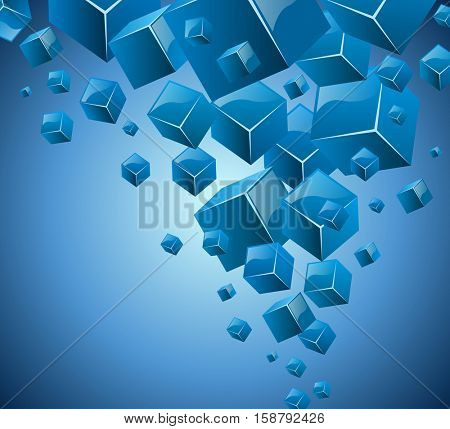 Abstract blue 3D vector card with cubes flow graphic. Vector illustration.