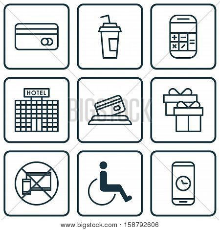 Set Of Traveling Icons On Present, Credit Card And Call Duration Topics. Editable Vector Illustration. Includes Box, Present, No And More Vector Icons.