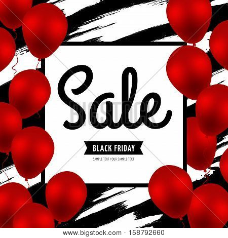 Sale Template Design. Red Luxury Balloons on White Background with Stripes and Trendy Square Frame. Seasonal sales. Space for text. Vector sales poster flyer template tag label badge.
