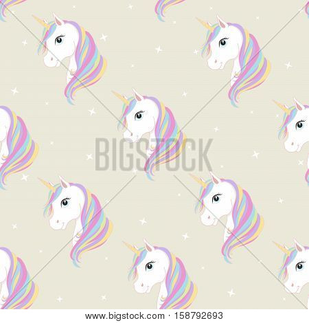 Unicorn seamless pattern. Unicorns with rainbow mane and horn on flat background with stars. Vector illustration. Cute magic fantasy wallpaper.