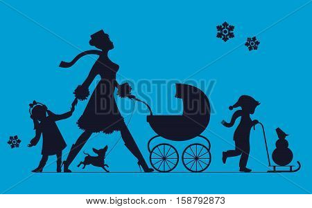 Woman with children and dogs. Super mother walks with children. Vector silhouette