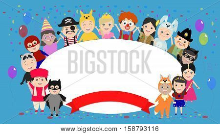 Festive background with kids in costumes around. Children in carnival costumes. Vector cartoon