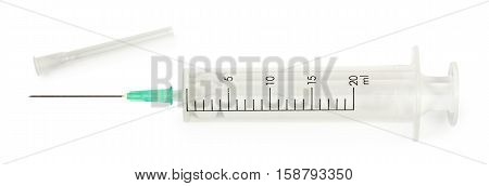 sterile syringe with needle for injection. Isolated on white background