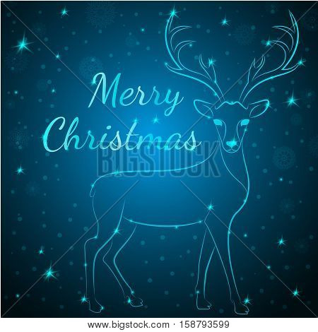Merry Christmas reindeer on snowflakes stars dots background.Graceful noble animal reindeer on blue soft glow surrounding, xmas wish postcard.Merry Xmas reindeer silhouette - blue reindeer with antlers