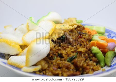 asian food fried rice crackers omelet pickles Indonesian street