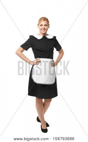 Beautiful chambermaid in uniform isolated on white
