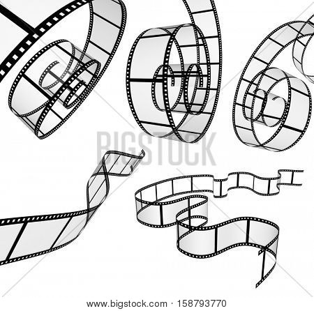 Collection of retro filmstrips. Objects isolated on white background. 3d render