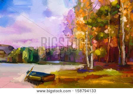 Oil painting landscape - colorful autumn trees. Semi abstract image of forest trees with yellow red leaf and boat at lake. Autumn Fall season nature background. Hand Painted Impressionist style