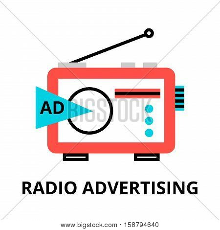 Modern flat thin line design vector illustration concept of radio advertistement for graphic and web design