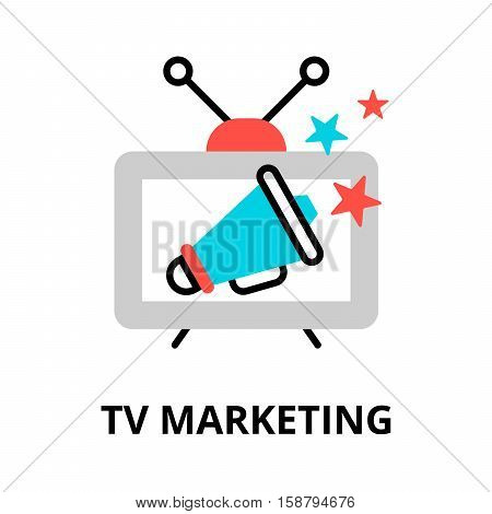 Modern flat thin line design vector illustration concept of tv marketing for graphic and web design