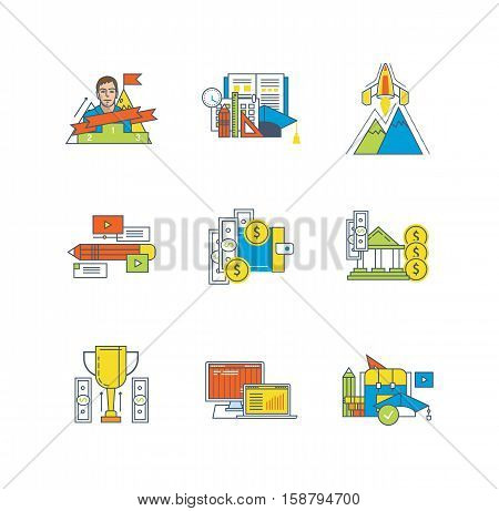 Finance, education, start up, research activities, deposits and savings, leadership, management, statistics icons set over white background. Flat line icons for infographics design elements.