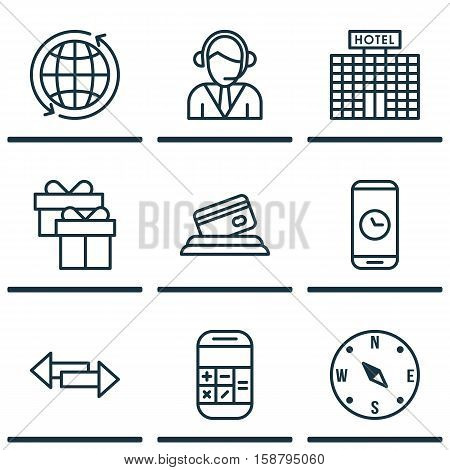 Set Of Airport Icons On Calculation, Crossroad And Credit Card Topics. Editable Vector Illustration. Includes Mobile, Credit, Locate And More Vector Icons.