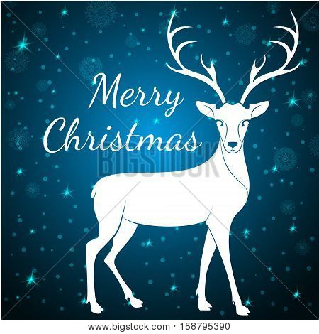 Merry Christmas reindeer on snowflakes stars dots background.Graceful noble animal reindeer on blue soft glow surrounding, xmas wish postcard.Merry Xmas reindeer - white reindeer with antlers poster