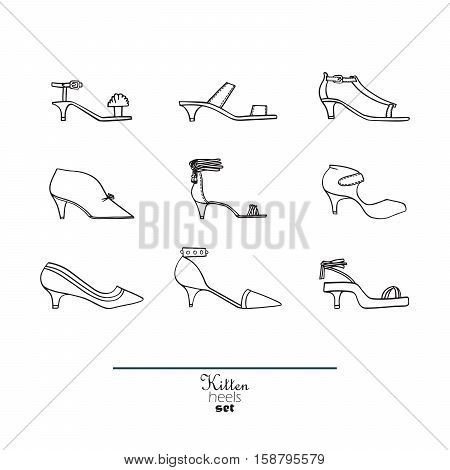 Beautiful set of isolated on background flat vector shoes hand drawn in stylish collection of kitten heels. Fashion illustration good for creative design. Black and white image on white background.