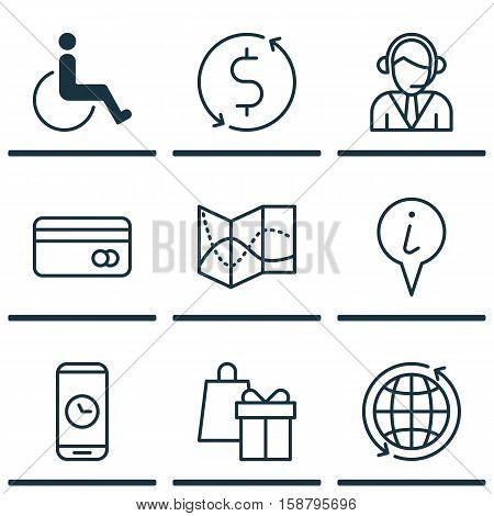 Set Of Traveling Icons On World, Operator And Road Map Topics. Editable Vector Illustration. Includes Holiday, Time, Accessibility And More Vector Icons.