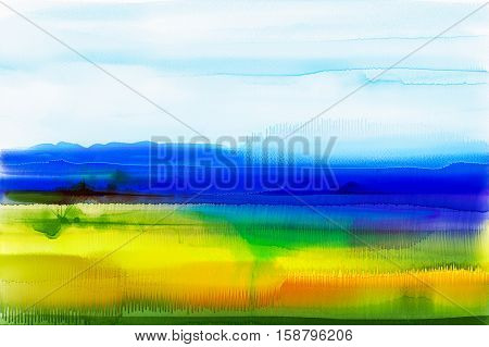 Abstract watercolor background. Semi- abstract watercolor painting landscape.Image of tree, hill and green field with sunlight and blue sky. Spring season nature background