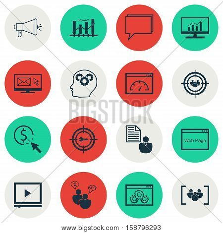 Set Of SEO Icons On PPC, Video Player And Keyword Optimisation Topics. Editable Vector Illustration. Includes Community, Click, Web And More Vector Icons.