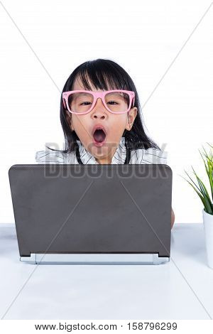 Boring Asian Chinese Little Office Lady Using Laptop