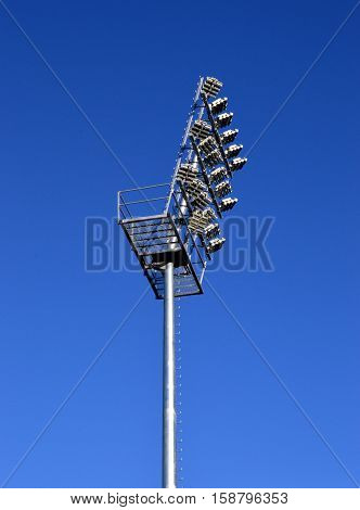 Lighting pylon of a football field with LED spotlights