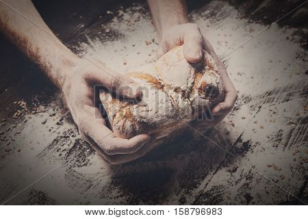 Warm fresh bread. Baking and cooking concept background. Hands of baker carefully hold loaf on rustic wooden table, sprinkled with flour. Stained dirty hands of baker. Soft toning