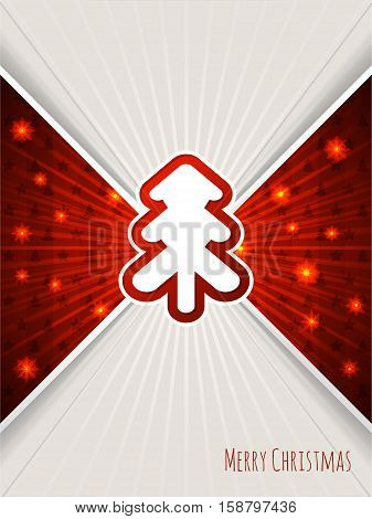 Christmas greeting card design with bursting red christmas tree