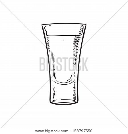 Full glass of black and white tequila, sketch vector illustration isolated on white background. Hand drawn tequila, gin, brandy, rum, whiskey alcohol beverage shot
