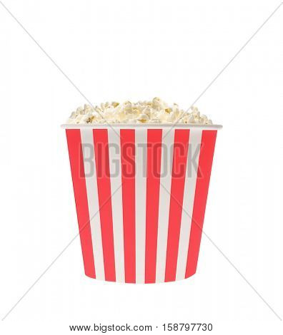 Popcorn in classic striped bucket isolated on white background