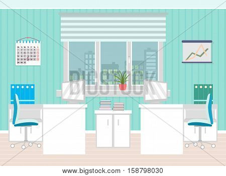 Office room interior including two work spaces with furniture cityscape outside window. Flat style vector illustration.