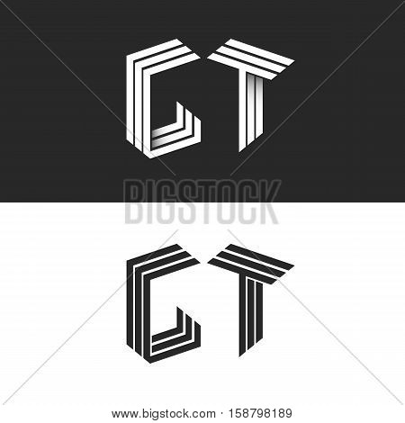 Initials monogram letters GT logo isometric construction. black and white 3d typography design element group G T hipster emblem