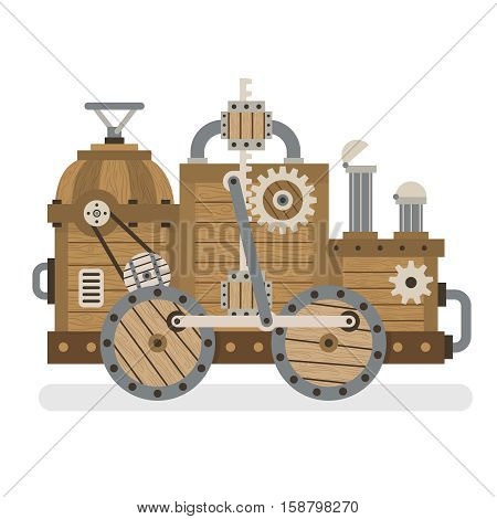 Fantastic strange wooden retro machine with mechanisms gears pipes wheels. Layered vector illustration - easy to edit.