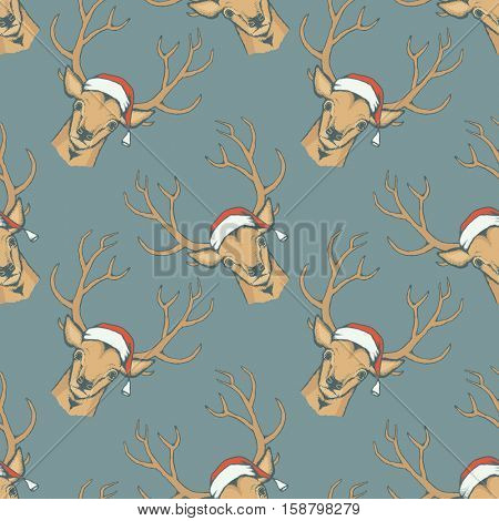 Christmas deer vector seamless pattern illustration. Reindeer vector head with horn and Santa hat