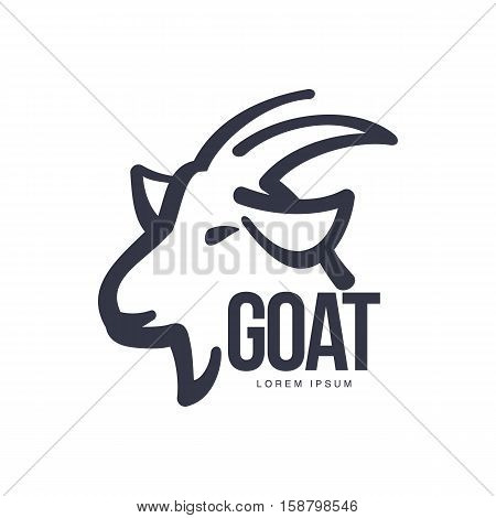 Side view goat head logo template for meat and dairy products, cartoon vector illustration on white background. Goat profile outline for dairy, meat, farm products logo design
