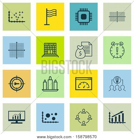 Set Of 16 Universal Editable Icons. Can Be Used For Web, Mobile And App Design. Includes Icons Such As Chip, Market Research, Collaborative Solution And More.