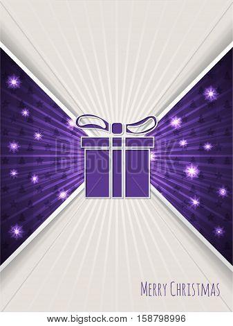 Christmas greeting card design with bursting purple christmas gift